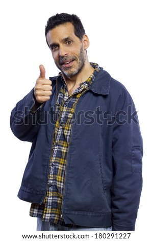 blue collar worker giving showing a thumbs up gesture - stock photo