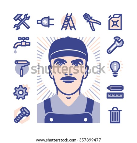 Blue collar worker with Fat Line Icons for web and mobile. Modern minimalistic flat design elements of construction, home repair tools - stock photo