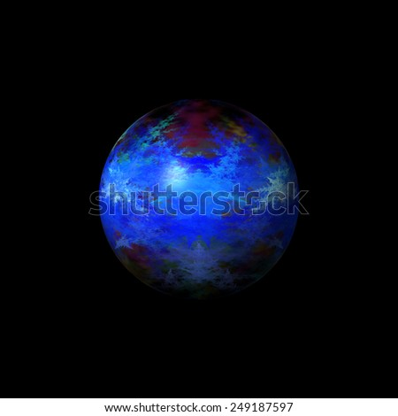 Blue color fractal globe on a black background. - stock photo