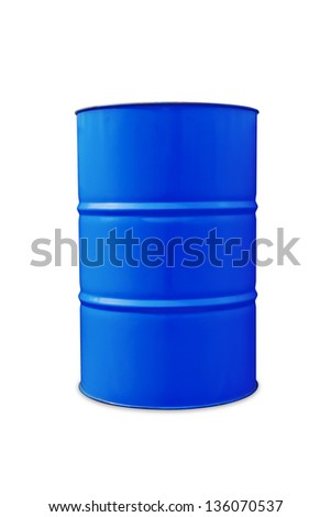 Blue color metal oil barrel, isolated on white background with clipping path - stock photo