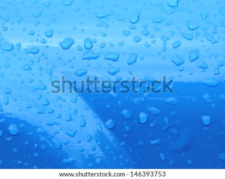 Blue color  metal  with water drops - stock photo