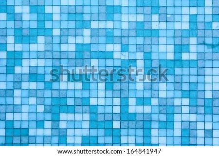 Blue color mosaic background tiles  - stock photo