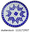 Blue color mosaic, tiles, clipping path - stock photo