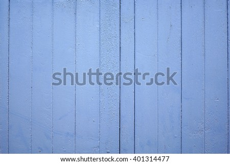 Blue color paint on wood wall:Close up,select focus with shallow depth of field:Macro shot - stock photo
