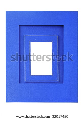 Blue color picture frame - stock photo