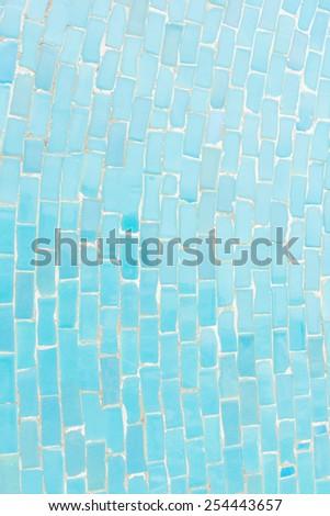 Blue color tone ceramic tiles texture with filling, random size - stock photo
