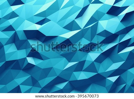 Blue color triangle geometrical background - stock photo