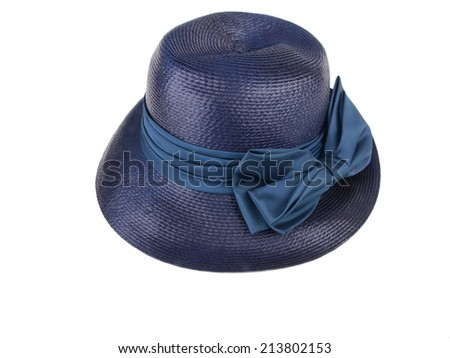 blue colored vintage straw dress hat isolated on white background - stock photo
