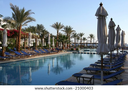 Blue colors of a Red sea hotel in Egypt - stock photo