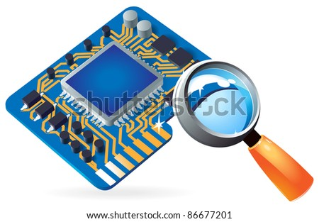 Blue computer chipset under magnifying glass. Raster version. Vector version is also available. - stock photo