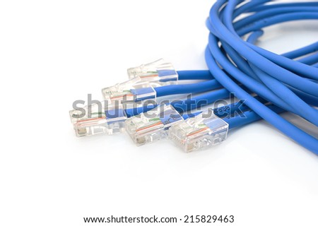 blue computer ethernet cable isolated on white background - stock photo
