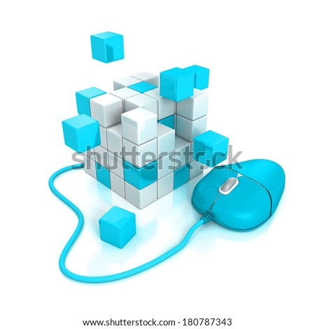 blue computer mouse connect to abstract cubes structure. 3D render on white background - stock photo
