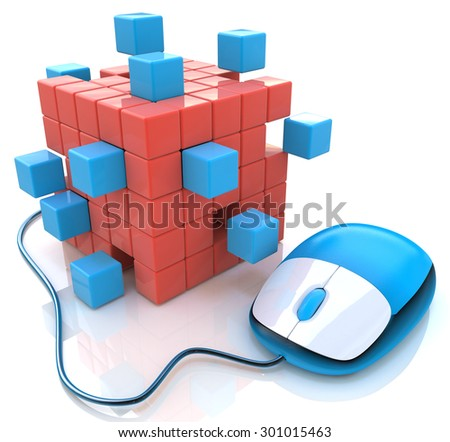 Blue computer mouse connect to cubes structure  - stock photo