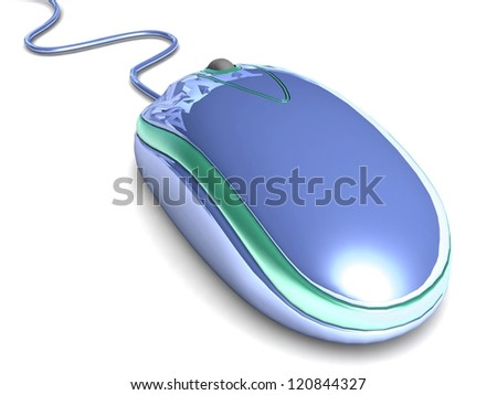 blue computer mouse with cable on white background - stock photo