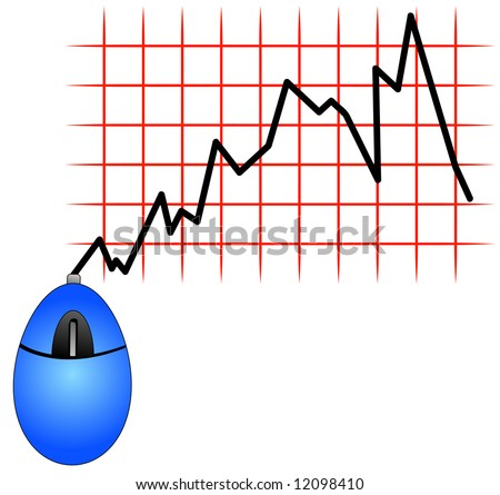 blue computer mouse with cord showing fluctuation in bar graph - fluctuation in internet usages or shopping - stock photo