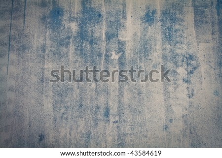 blue concrete wall grunge texture with cracks - stock photo