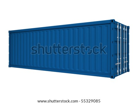 Blue container - stock photo
