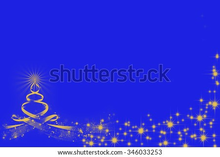 Blue copyspace Christmas abstract illustration of yellow fir tree with shining star on the top and sparking snowflakes  - stock photo