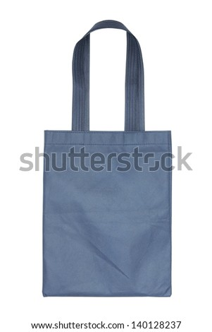 blue cotton bag isolated on white background with clipping path - stock photo