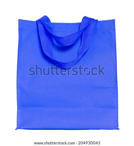 blue cotton bag isolated on white with clipping path - stock photo