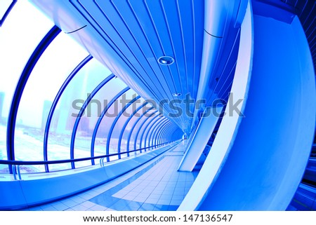 blue covered bridge. Moscow City - stock photo