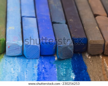blue crayons - stock photo