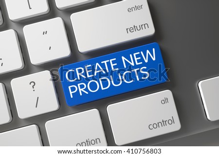 Blue Create New Products Keypad on Keyboard. Key Create New Products on Slim Aluminum Keyboard. Modern Keyboard with Hot Button for Create New Products. 3D Render. - stock photo