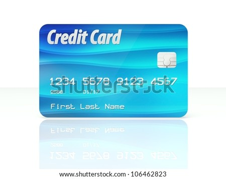 Blue credit card template design on white background - stock photo
