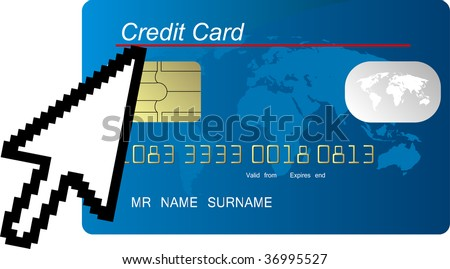 blue credit card with computer cursor - stock photo