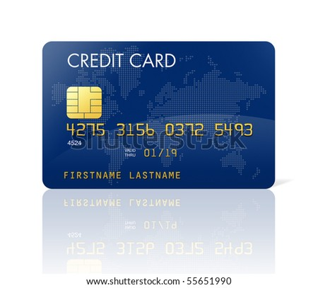Blue credit card with world map - isolated on white with clipping path - stock photo