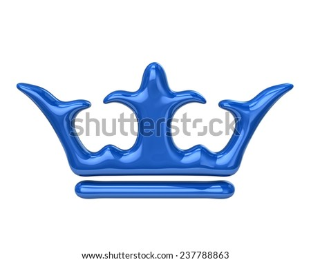 Blue crown icon - stock photo