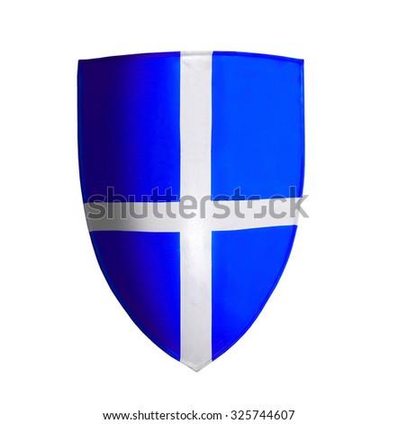 Blue crusader isolated on white - stock photo