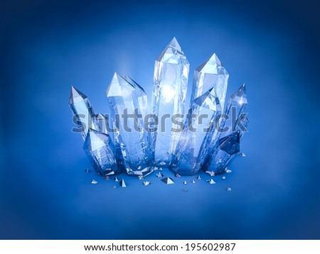 Blue Crystals - stock photo