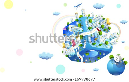 Blue cube with a big city on top. - stock photo