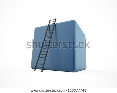 Blue cube with ladder isolated on white background - stock photo