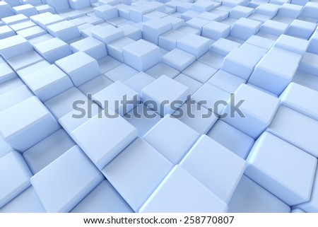 Blue cubes background - stock photo