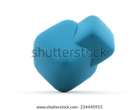 Blue cubes icon concept rendered on white background isolated - stock photo