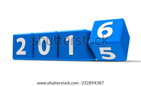 Blue cubes with 2015-2016 change on a white table represents the new 2016, three-dimensional rendering - stock photo