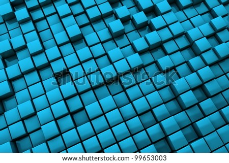 blue cubes with metallic surface make a cool business backdrop pattern - stock photo