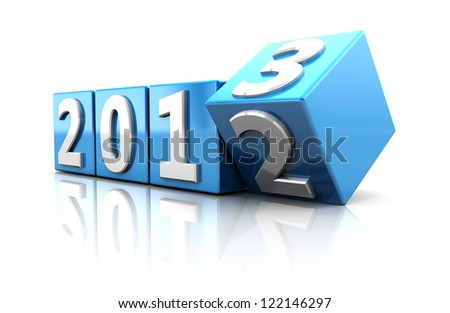 Blue cubes with number of starting new year - stock photo