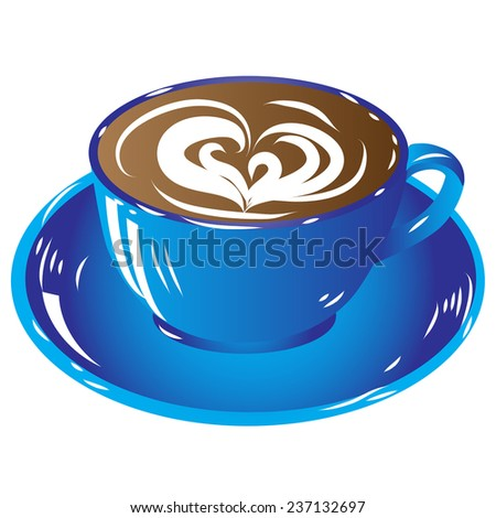 blue cup coffee, hot drink chocolate icon isolated on white background raster illustration - stock photo