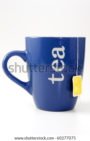 blue cup of tea over white background - stock photo