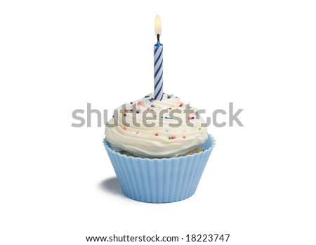 Blue cupcake with candle on white background - stock photo