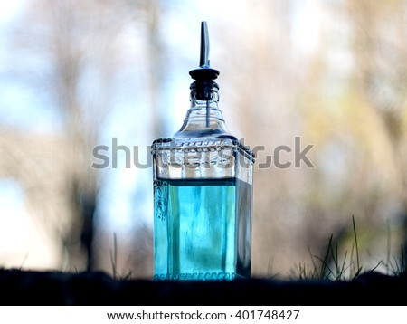 blue curacao shots, alcoholic strong drinks. Cocktails and garnish at bar, pub or restaurant - stock photo
