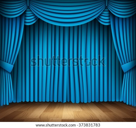 Blue curtain of classical theater with wood floor - stock photo