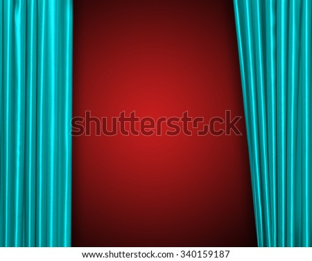 Blue curtain on theater or cinema stage slightly open - stock photo