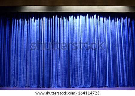 Blue Curtain Stage Background - stock photo