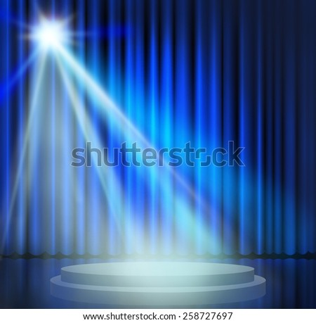 Blue curtains on theater with spotlight. - stock photo