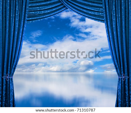 Blue curtains reveal perfect clean air cloudscape environment - stock photo