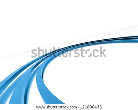 Blue curve on white background - stock photo